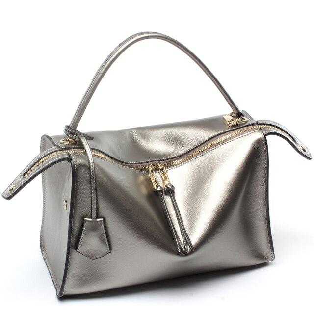 59d4380276e65 Frauen leder Luxus Handtaschen Frauen Schulter Taschen Marken Designer Hohe  Qualität Damen Große Tote Silber Hand