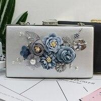 2017 la nuova versione del fiore della perla pacchetto sacchetto del pranzo del sacchetto di mano sacchetto del vestito grigio argento sacchetto di spalla obliqua