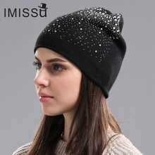 IMISSU Winter Women s Winter Hats Knitted Wool Casual Mask Cap with Crystal Solid Color Ski