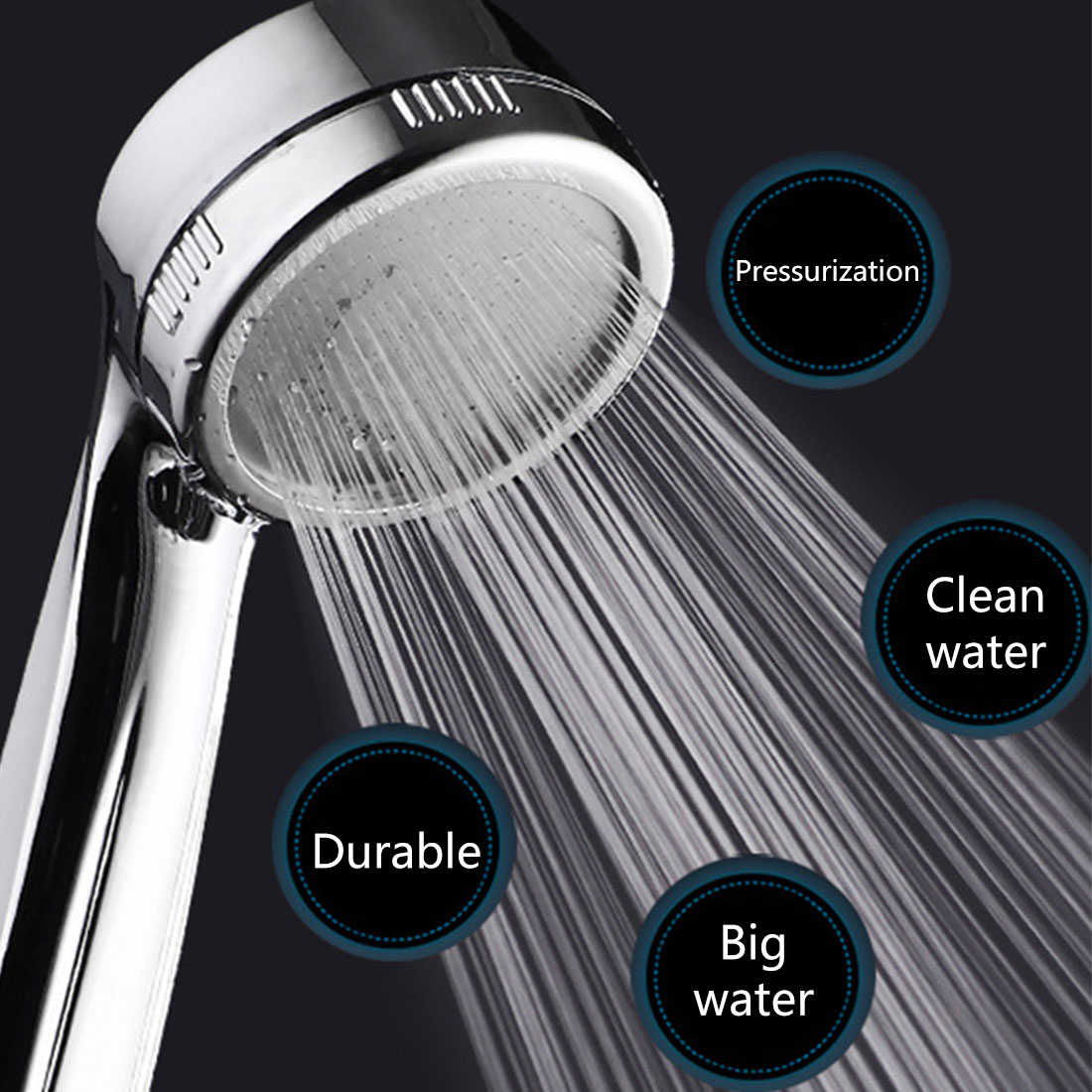 Negative Ion Shower Head Water Shower Head Low Pressure Booster Bath Energy Saving Pinhole Absorption Chrome Plating