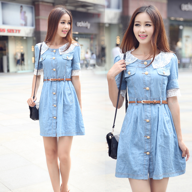 05583ff31012 2014 spring and summer plus size light color cotton denim one-piece dress  jeans sweet