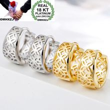 OMHXZJ Wholesale Personality Fashion OL Woman Girl Party White Gold Flower Hollowed Out 18KT Hoop Earrings YE460