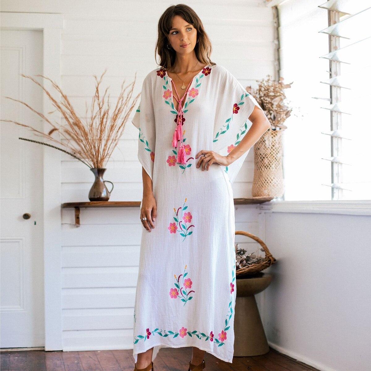 Boho Broderie Maxi robe pour femmes 2019 Rétro courtes manches V cou Dentelle Vintage Robes D'été Floral Plage Lâche Hippie conduites de carburant