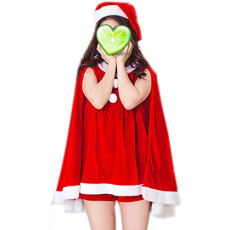 YSMARKET Red Green Sexy Women Christmas Costumes Cosplays Party Dress Female Winter Clothes (Dress+Shawl+Hat) E1379