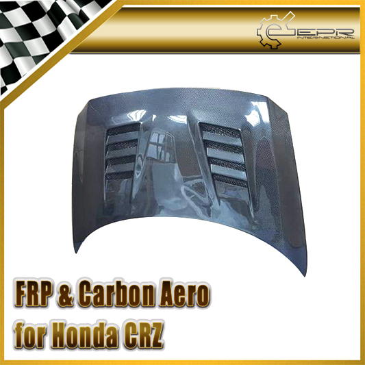 Car-styling For Honda 12-On CRZ Carbon Fiber A-Style Vented Hood Glossy Fibre Engine Bonnet Racing Auto Body Kit Accessories car styling for honda civic fd 2006 carbon fiber steering wheel cover glossy fibre interior bearing circle racing auto body kit