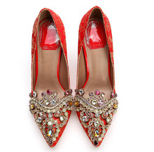 Rhinestone China Style Red Wedding Shoes Women Exquisite High Heel Pumps High Quality Silk Embroidery Bride Shoes