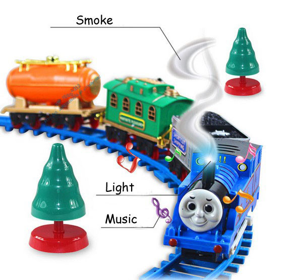 2016 Hotsale Music Thomas trains electric rail cars childs track toy retail wholesale for childrens gift kids toys in stock