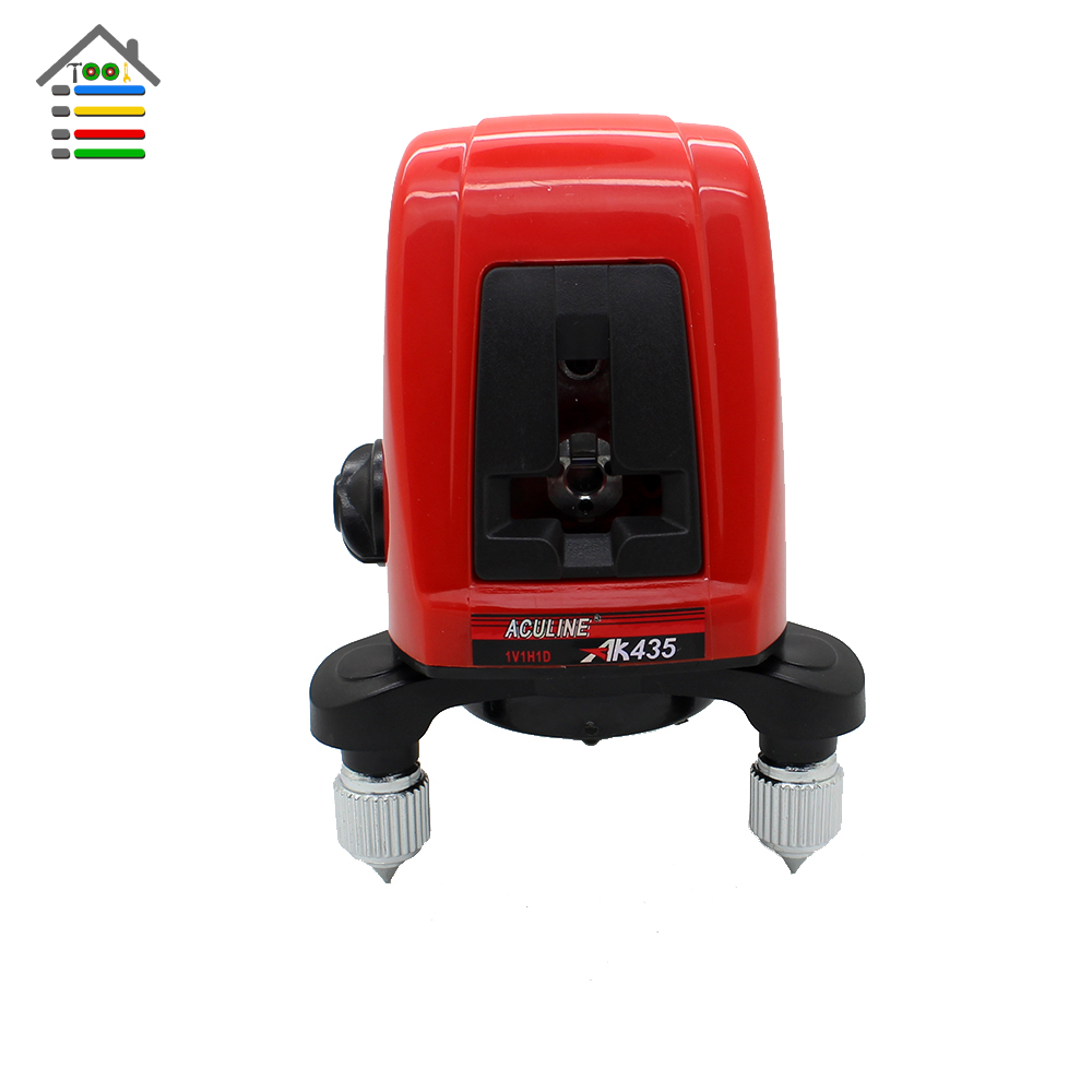 New AK435 360 Degree Self-leveling Cross Laser Level Leveler Red 2 Line 1 Point with Bag Wall Bracket