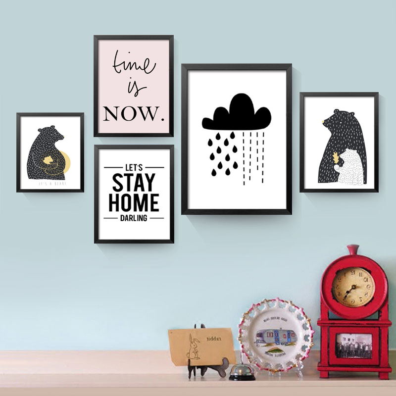 quedarse en casa el tiempo es ahora citar lienzo pintura animal de la historieta oso arte