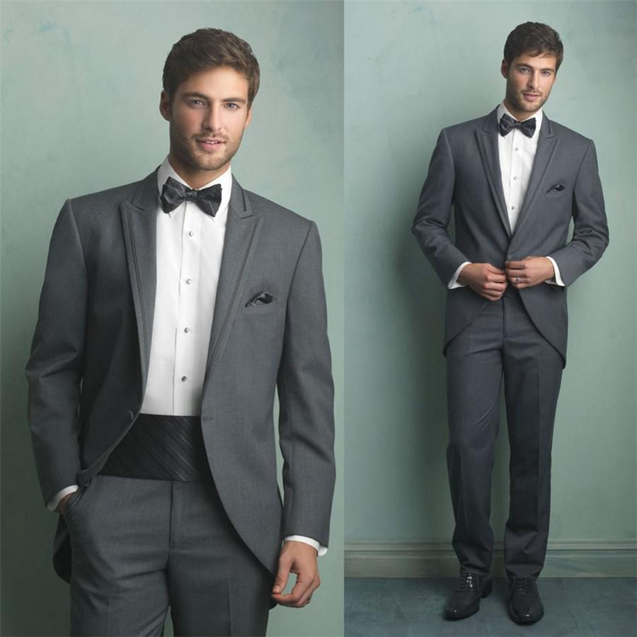 Mens 3 Piece Suit Grey SwallowTailed Coat Grey Custom Made New ...