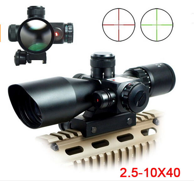 Gratis frakt 2,5-10X40 Riflescope Illuminated Tactical Riflescope med Red Laser Scope Jakt Omfang