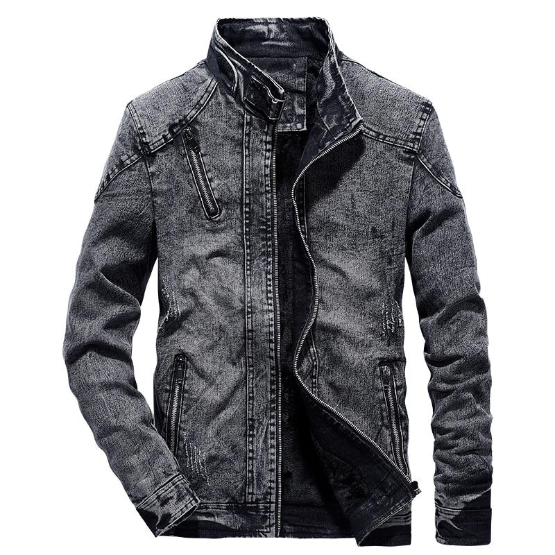 Vintage Denim Jackets Men Slim Fit Casual Mens Jeans Coat Jacket 2019 Fashion Vintage Clothes For Men Black Blue Zipper WN38