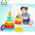 Free Shipping Kids Baby Toy Plastic Stacking Rainbow Duck With Music and Light Ring Tower Educational Toys Rainbow Stack Up Toy