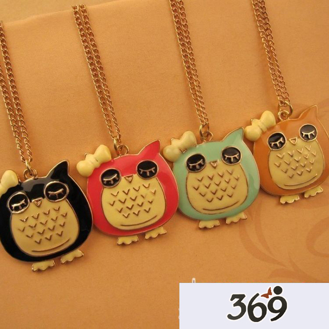 2013 the latest fashion cartoon epoxy lovely owl sweater long necklace