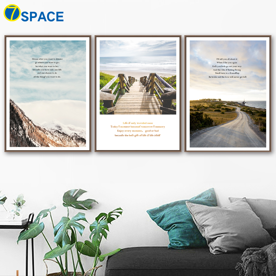 Mountain Road Landscape Quotes Posters And Prints Wall Art Canvas Painting Nordic Poster Wall Pictures For Living Room Decor in Painting Calligraphy from Home Garden