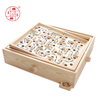 MITOYS 3D Puzzle Wooden Labyrinth Toys Board Ball Maze Games Handcrafted Toys Children Educational Puzzles size: 32*28 cm