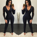 Women Jumpsuit Cool Black Bandage Overalls 2017 New Hot Fashion Eyelet Lace Up Long Sleeve V-neck Sexy Bodycon Jumpsuit Romper