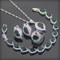 Green Garnet White Created Topaz 925 Sterling Silver Jewelry Sets For Women Earrings/Rings/Pendant/Necklace/Bracelets Free Box