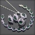 Verde Creado Granate Blanco Topaz 925 Plata de La Joyería Para Las Mujeres Pendientes/Anillos/Pendiente/Collar/pulseras Caja Libre