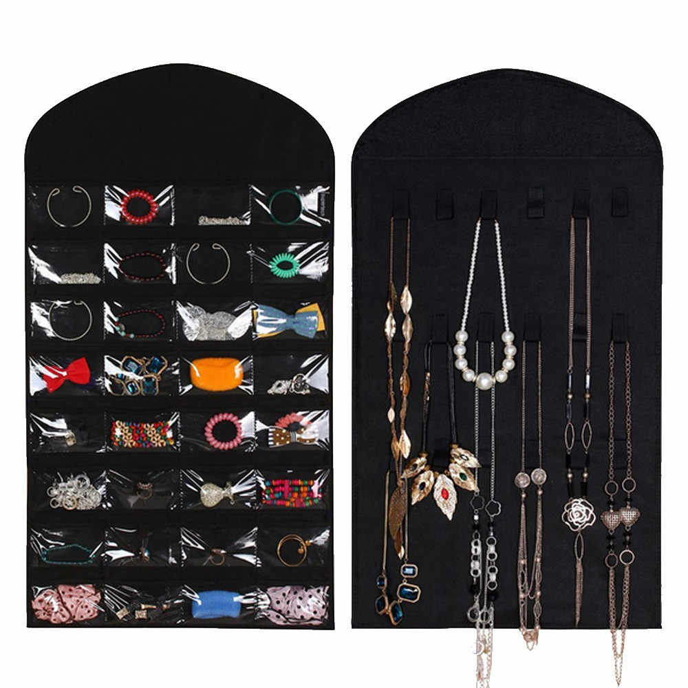 32 Pockets Hanging Organizer Jewelry Storage Bag Wardrobe Closet Organizer Earrings Ring Necklace Bracelet Pouch Display Holder