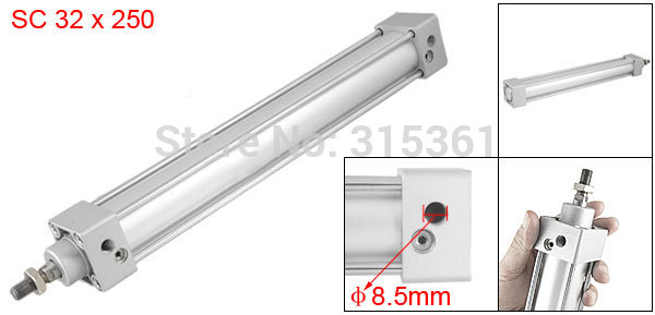 Free Shipping Single Screwed Piston Rod 32 x 250 Dual Action Pneumatic Cylinder SC32-250
