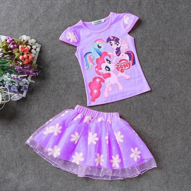 Zomer Kinderkleding.2018 Nieuwe Zomer Kinderkleding Sets Little Pony T Shirt Tule Tutu