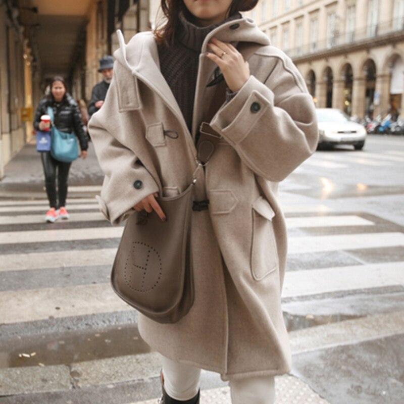 Winter Coats Long-Outerwear Trench Female Thick Women for Woolen Horn