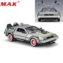 цена на 1:24 Scale Diecast Car Oart 1 2 3 Time Machine Metal Alloy Car Model Toys DeLorean DMC-12 Model Welly Back to the Future Car
