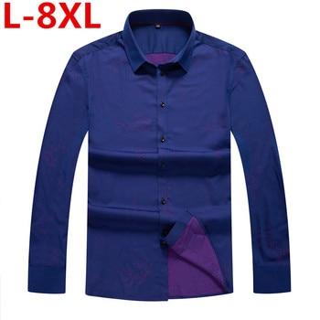 8XL 7XL plus size  Men's classic print shirt Long sleeve dress shirt men Business formal shirts Mens clothing camisa masculina