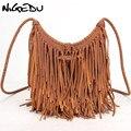 Сумка-мессенджер NIGEDU Женская  винтажная  ручная  с кисточками  из искусственной кожи