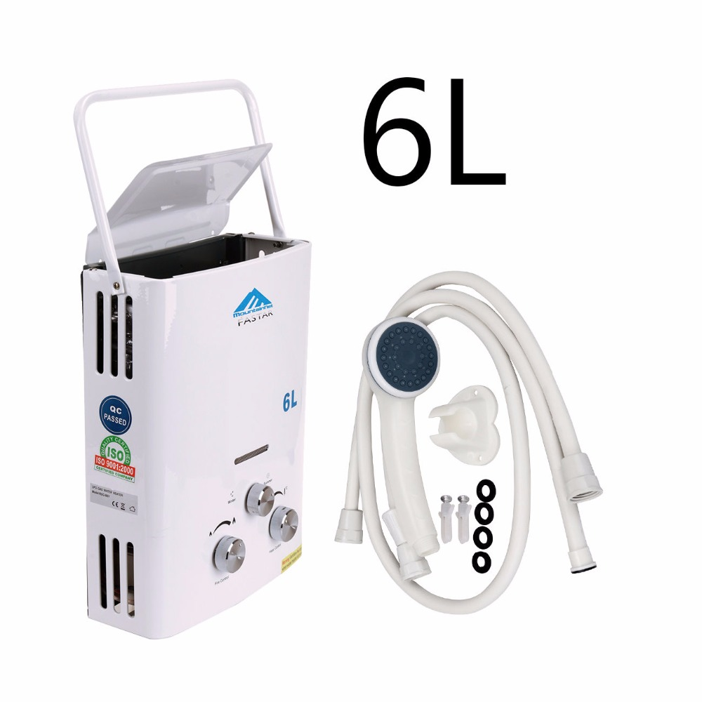 (Ship from US) 6L Propane Gas LPG Tankless Hot Water Heater Instant Boiler Bath shower head Portable Outdoor Camping