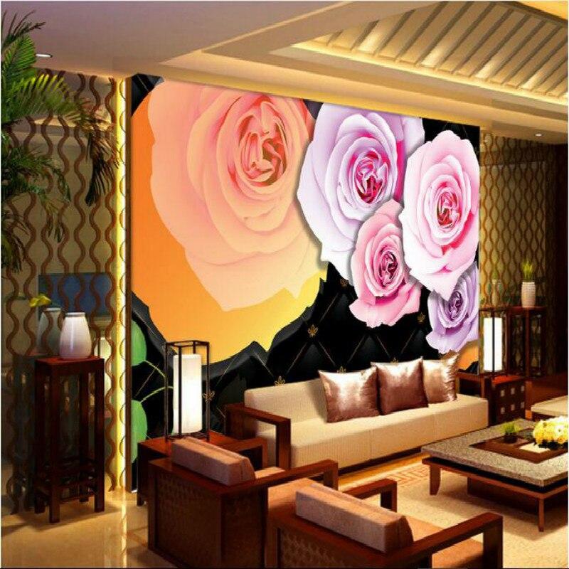 Customization backgrounds 3D wallpaper for walls 3d wallpaper murals photo Non Woven silk for living room Roses black interior