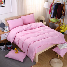 Princess Pink Color Duvet Cover Solid 4PCS Bedding Sets Pillow covers Soft Quilt Single Bed Girls