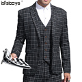 (Jackets+Pants+vest)British high quality  2016 New Fashion Men Suit Black Grid Three-Piece  suit   105-A660P295