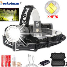 Super Bright XHP-70.2 Headlamp Fishing Camping headlight High Power lantern Zoomable USB Torches 3*18650 battery Flashlight(China)