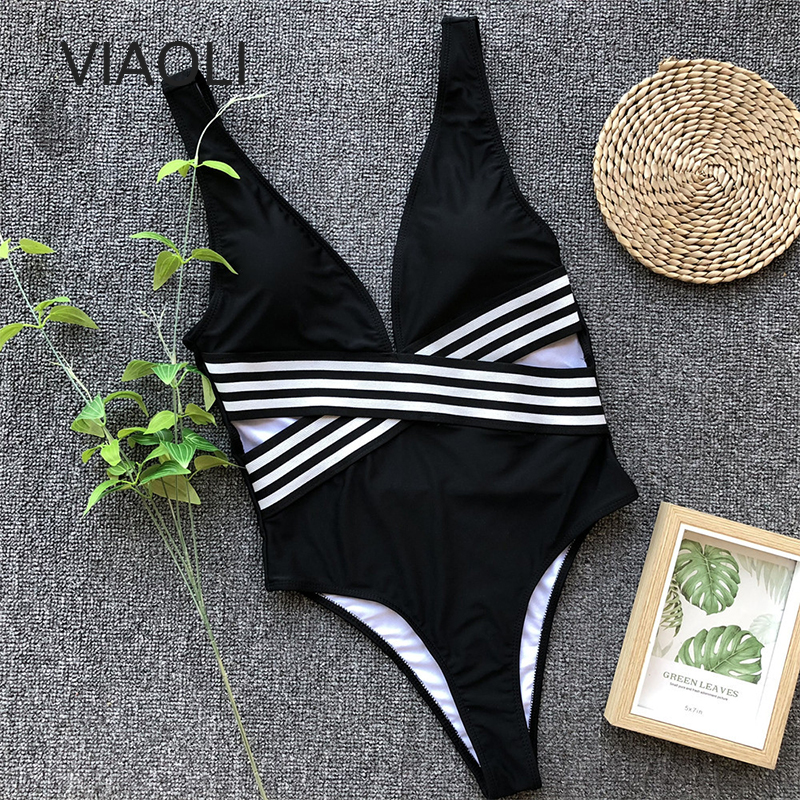 Sexy One Piece Swimsuit Female Solid Backless High Cut Bandage Black Women Swimwear Brazilian Monokini Bathing Suit