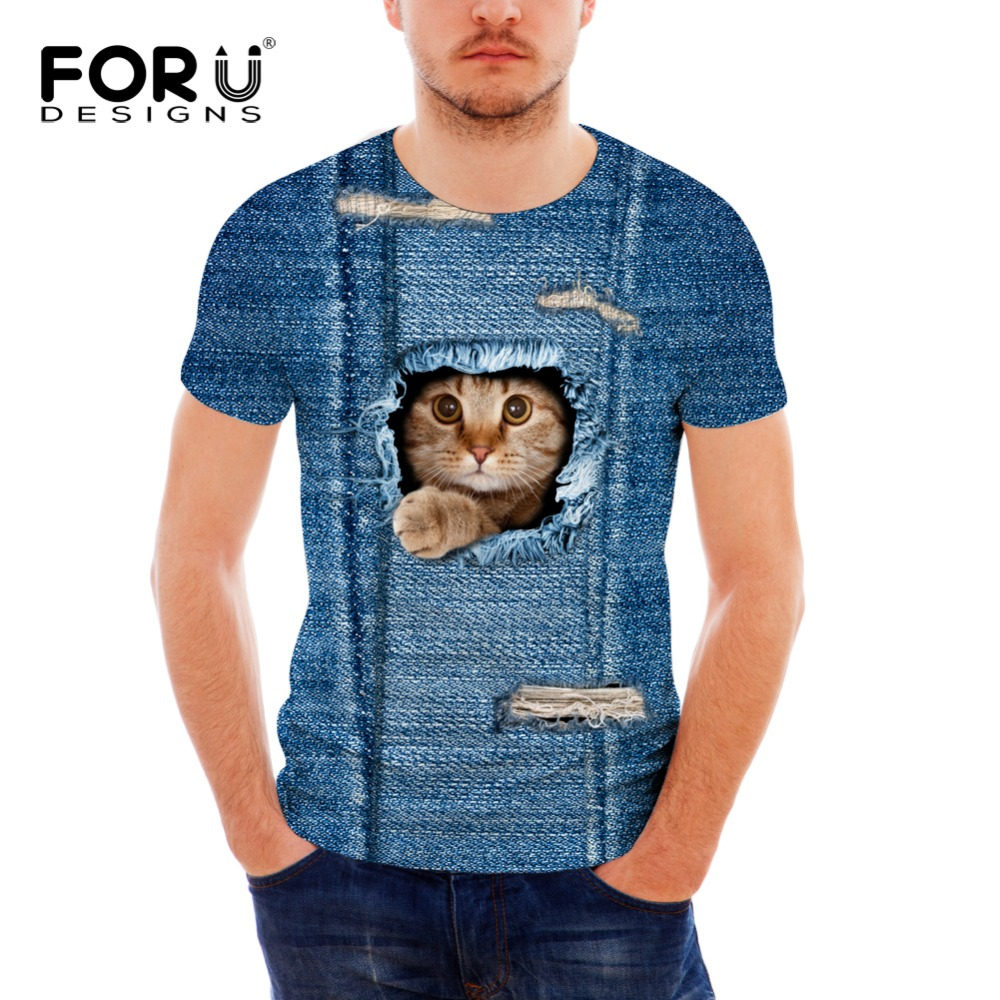 FORUDESIGNS 3D Jeans Cat Print Women T Shirt Casual Short Sleeve Tee Shirt Cotton Fitness Clothing Male Crossfit Tops breathable