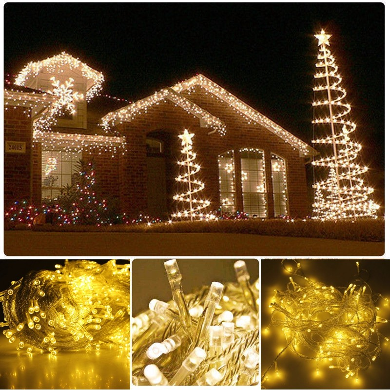 Warm White 50M 500 LED String Lighting Wedding Fairy Christmas Lights  Outdoor Twinkle Christmas Decoration Outdoor EU Plug - Warm White 50M 500 LED String Lighting Wedding Fairy Christmas