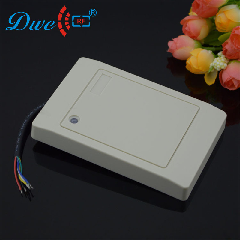 DWE CC RF Free shipping wholesale 125khz em id rfid reader wiegand 26 bits wiegand 34 bits for door access control system dwe cc rf 125khz em id wiegand 26 outdoor access control reader support tk4100 card ip65 002m 26