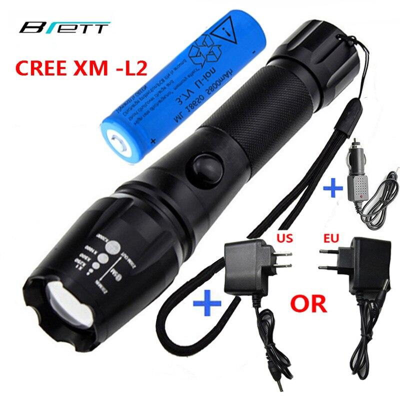 LED Rechargeable lampe de Poche CREE XM-L2 ou T6 lumière 18650 batterie En Plein Air camping Cyclisme Puissant led lampe de poche