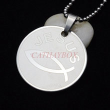 Buy christian fish necklace and get free shipping on aliexpress cataye sivler tone stainless steel christian religious aloadofball Images