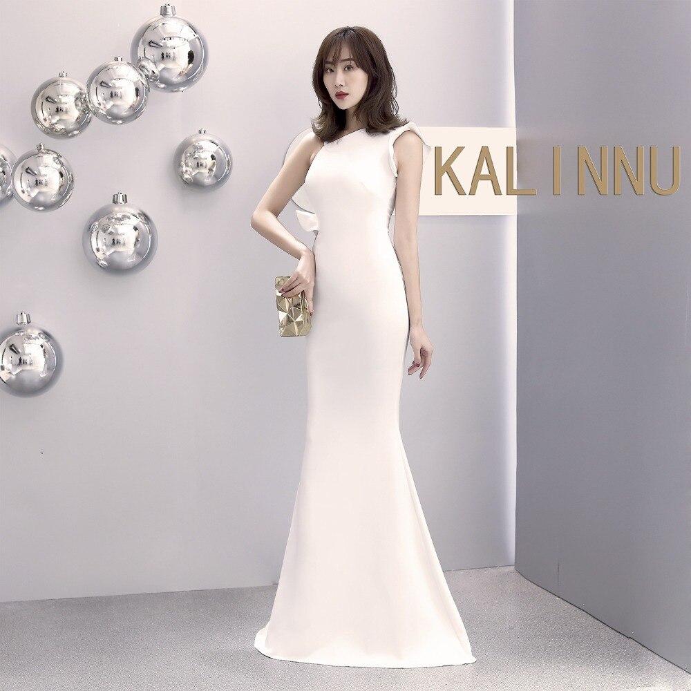 Sladuo femmes blanc formel élégant robe de soirée Vestidos Verano 2019 Sexy sans manches longue sirène étage longueur Slim robes
