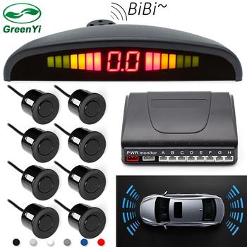 GreenYi detektor samochodów radar cofania wyświetlacz LED czujniki parkowania 8 czujniki odwrotny system wykrywania samochodów parktronic radarowy do parkowania tanie i dobre opinie Niewidoczne Rosyjski French Portugalski Hiszpański Niemiecki RUSSIA Angielski PZ300-8 0 3-2m 8PCS Sensors parking sensor