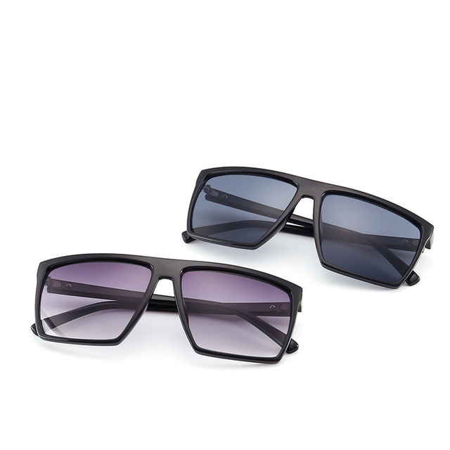 2019 Oversized Square Sunglasses Men Brand Designer Thin Plastic Frame Resin Lens Male Black Sun Glasses Shades  uv400