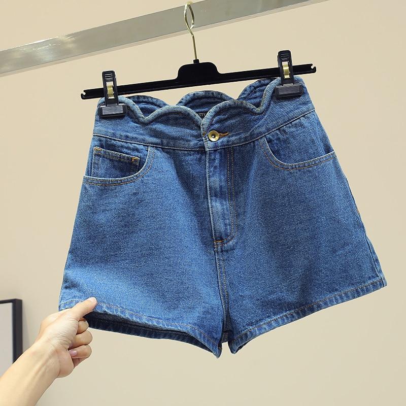 Tout Mince Bord Jambe Bleu Printemps Ondulé Pantalon Haute Taille Base Tendance Short Étudiants Été Shorts Large Femmes allumette De Nouveau Jeans qxZFqznWP