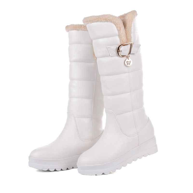 ASUMER/Большие размеры 34-43; ботинки до середины икры; женские ботинки на платформе с круглым носком на среднем каблуке; высококачественные зимние ботинки из искусственной кожи
