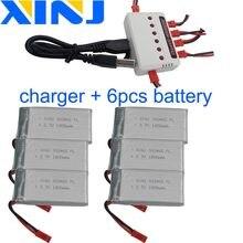XINJ Lader + 6 stuks 3.7V 1800 mAh 25C Lithium Polymeer batterij JST XH 2.54mm plug voor YX693-1 YX709-1 JJRC A6 Speelgoed RC Drone 903465