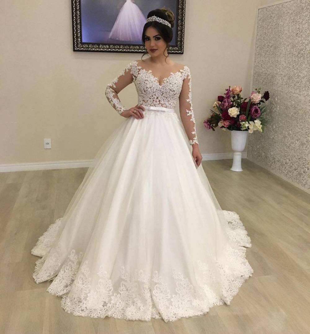 Vintage Wedding Dress 18 Princess Long Sleeve Sheer Beaded Lace Bridal  Lace White Tulle Wedding Gowns