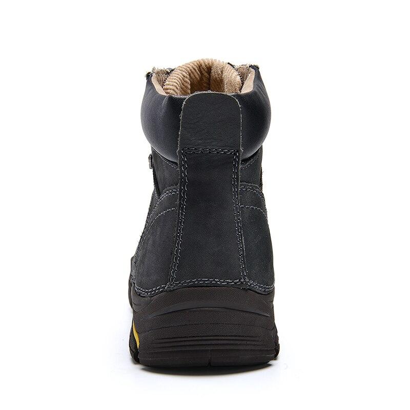 Genuino Oscuro Cuero El up Del Hombres Tobillo gris Superior Marrón Tamaño Nieve Ruso Invierno 37 Más Calientes Botas 45 Calidad Zapatos De Estilo qB5zwECx