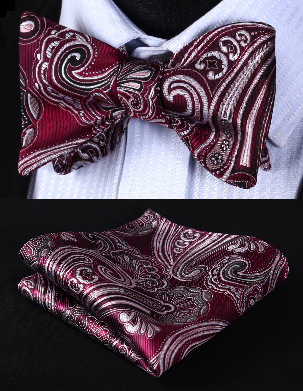 BP923US Burgundy Gray Paisley Bowtie Men Silk Self Bow Tie Handkerchief Set
